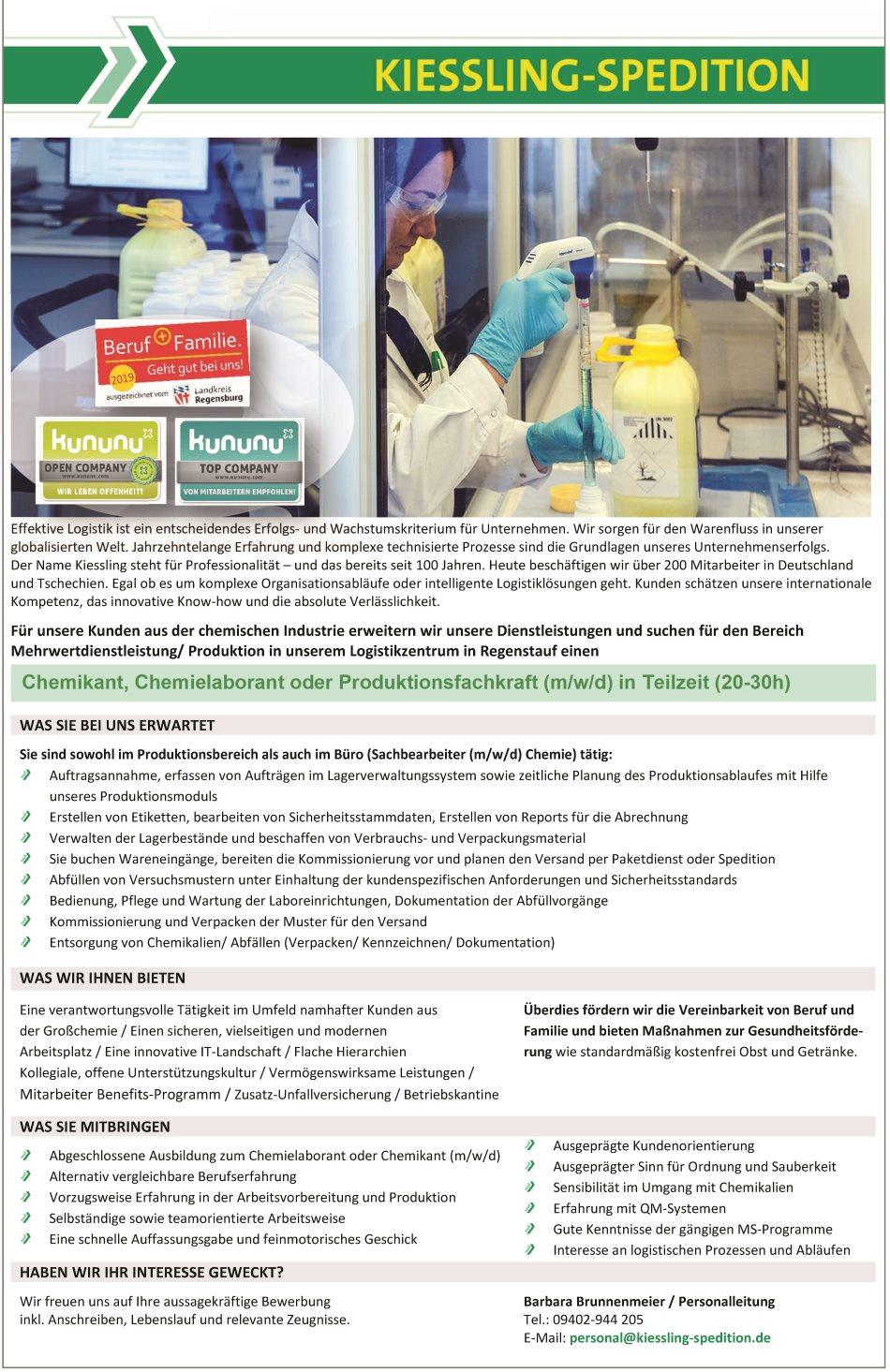 KIESSLING-SPEDITION: Chemikant, Chemielaborant oder Produktionsfachkraft (m/w/d) in Teilzeit (20-30h)